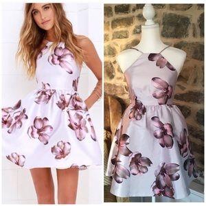 Lulus botanical bliss floral halter backless dress
